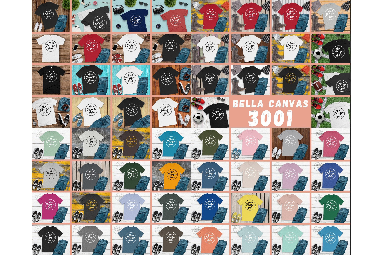 300 Mockups Bella Canvas 3001 Unisex Tshirt Flat Lay Mock Up example image 3