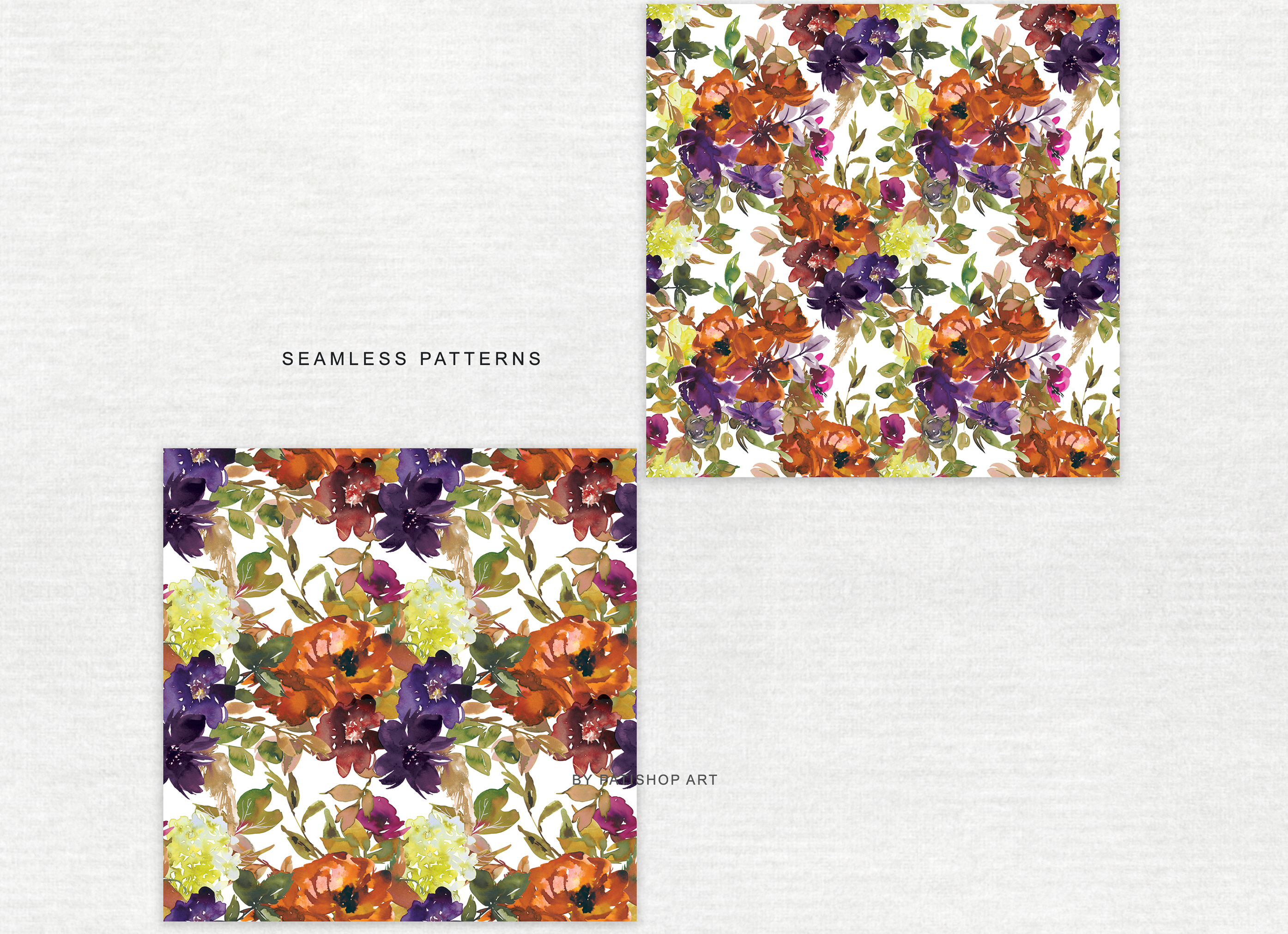 Watercolor Autumn Flowers Clipart & Patterns example image 9