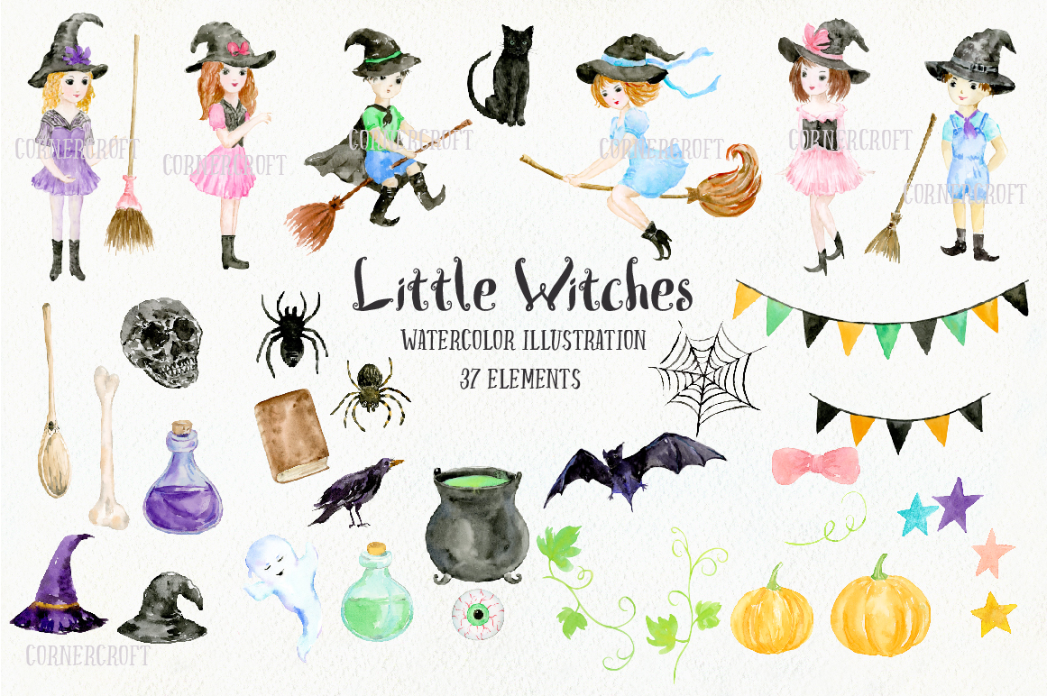 Little Witches Watercolor Design Kit example image 2
