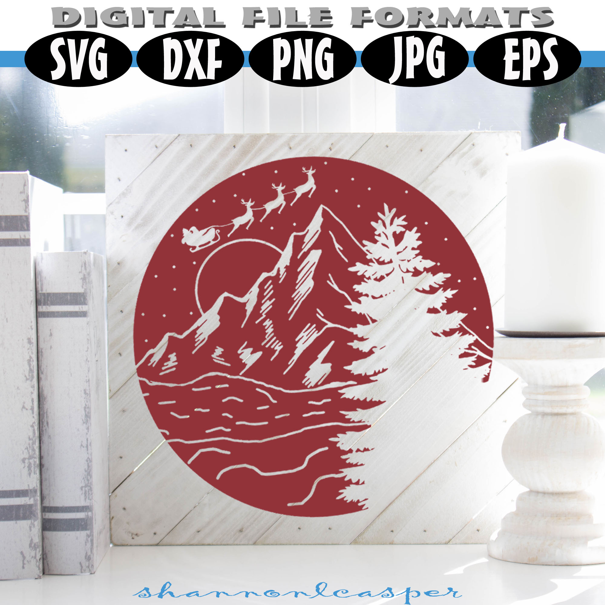 Christmas Night in the Mountains SVG example image 5