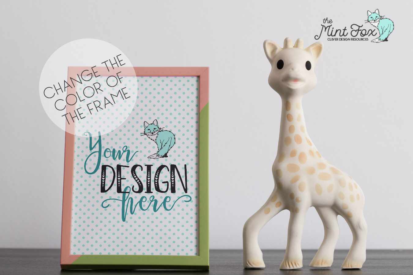 Children Photo Frame Mockup with Giraffe example image 3