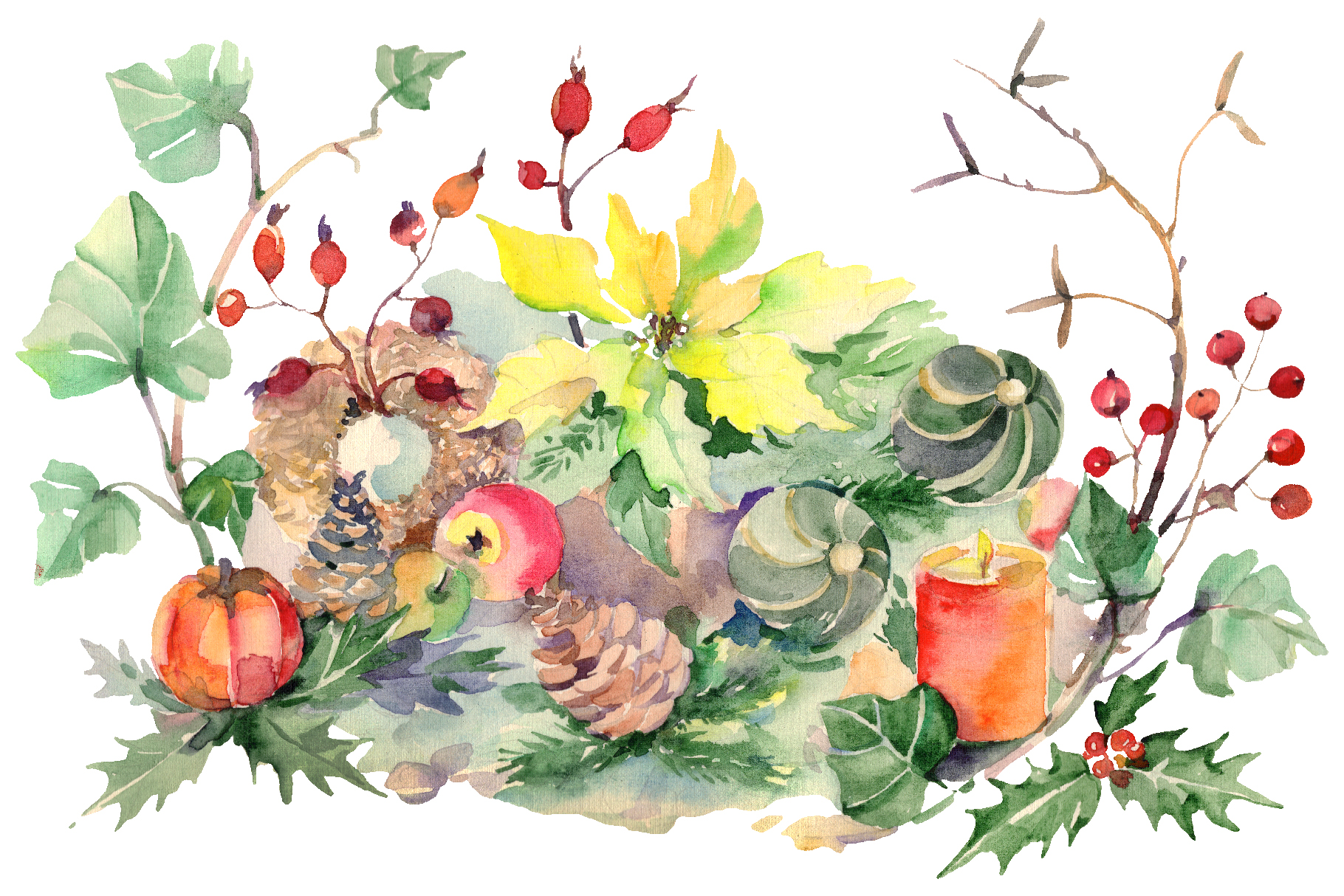 Christmas bouquet snowstorm Watercolor png example image 1