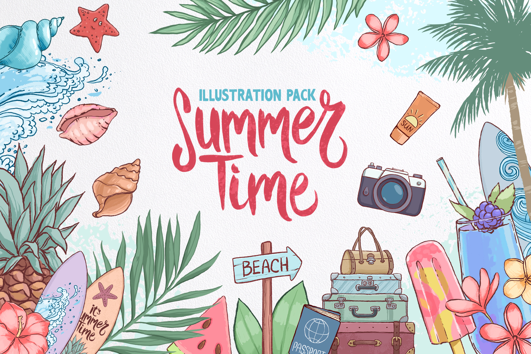 Summer time. Illustration pack. example image 1