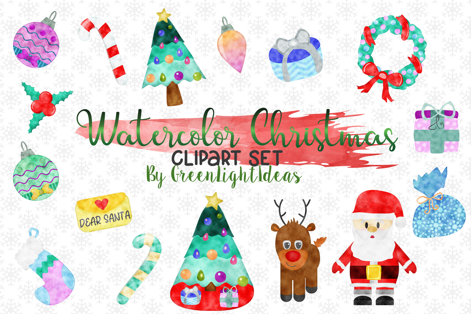 Christmas Graphic Set, Watercolor Christmas Graphics, Christmas Clipart, Holiday Clip Art example image 1
