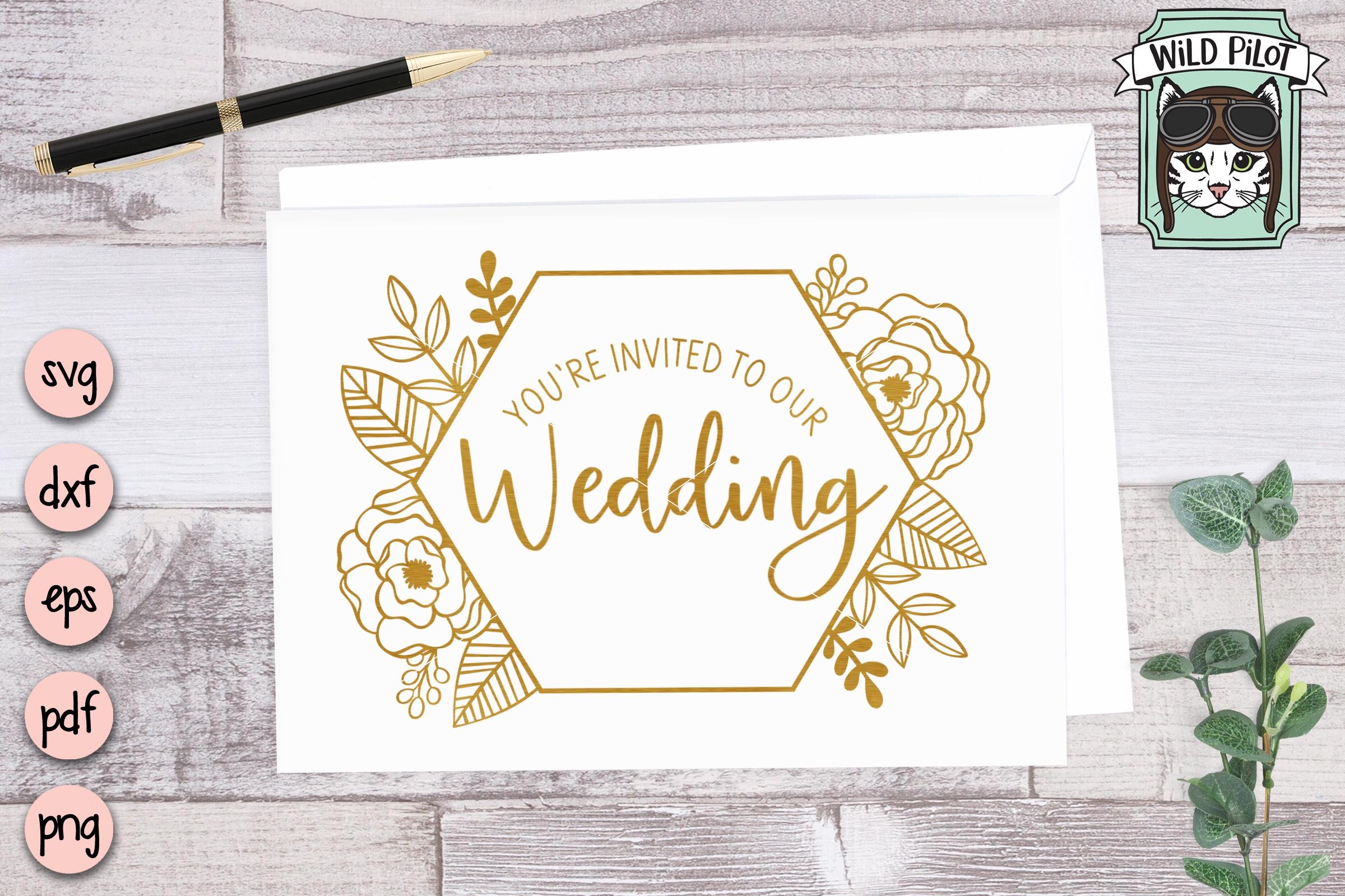 Flower Frame SVG file, Hexagon Frame, Wedding template example image 2