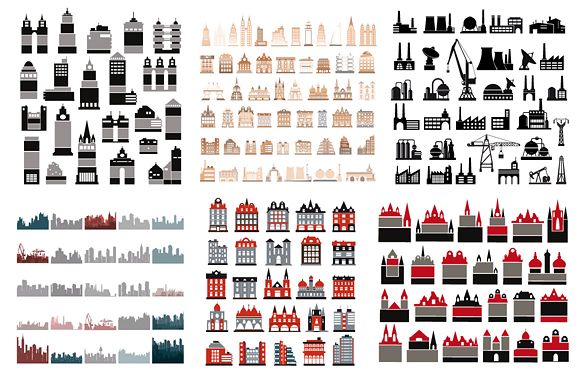 Vector set  house icons, skyscrapers, buildings  example image 2