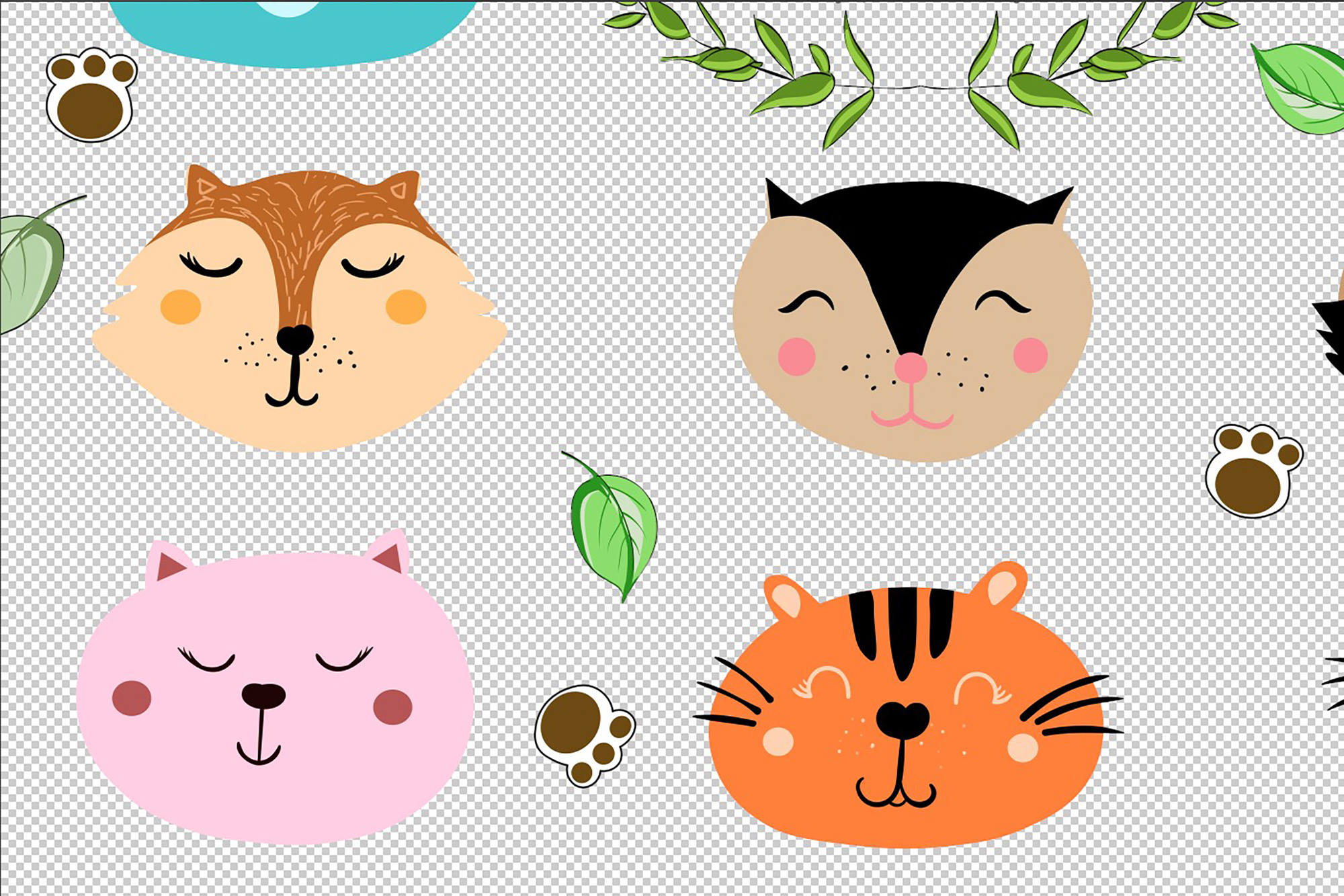 Set of cute funny little animals clipart example image 6