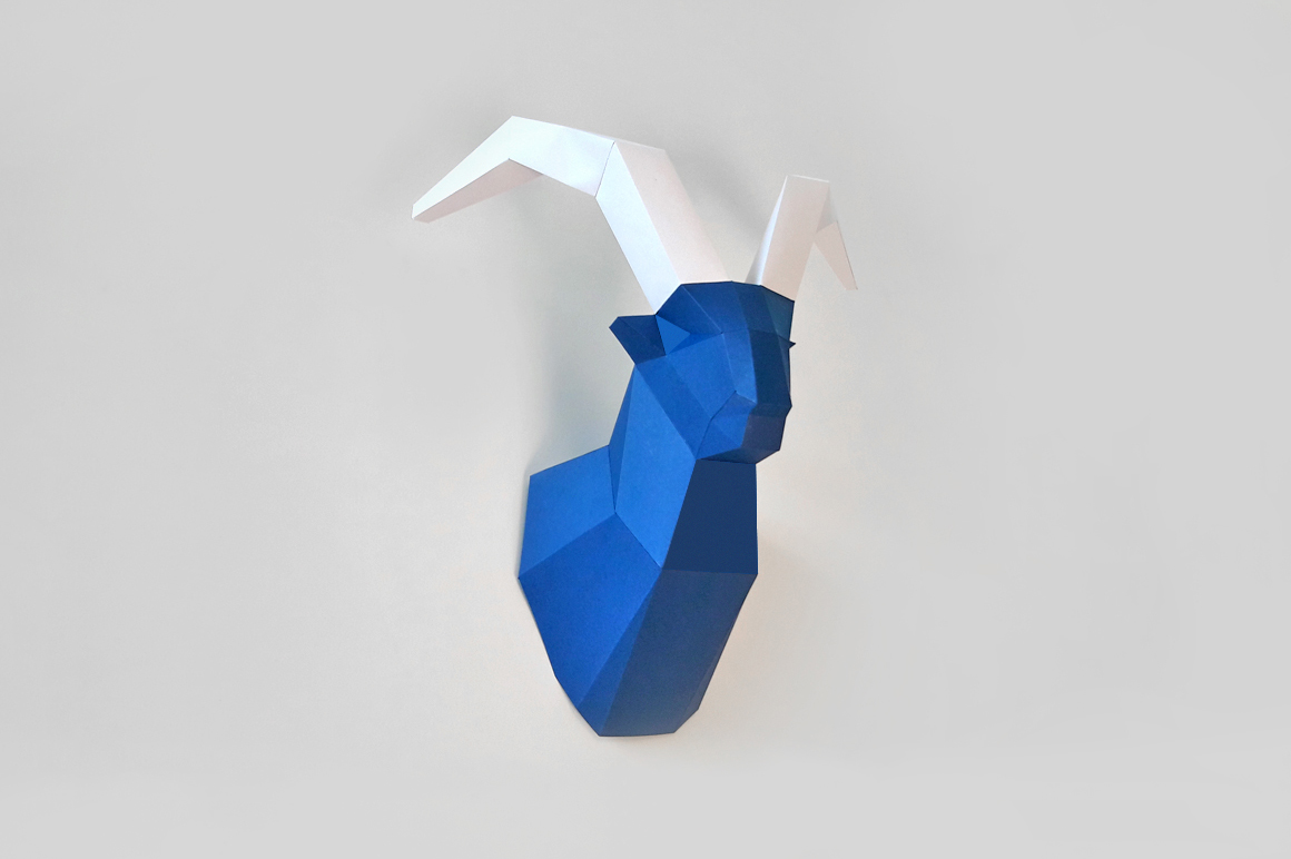 DIY Goat Trophy - 3d papercraft example image 1