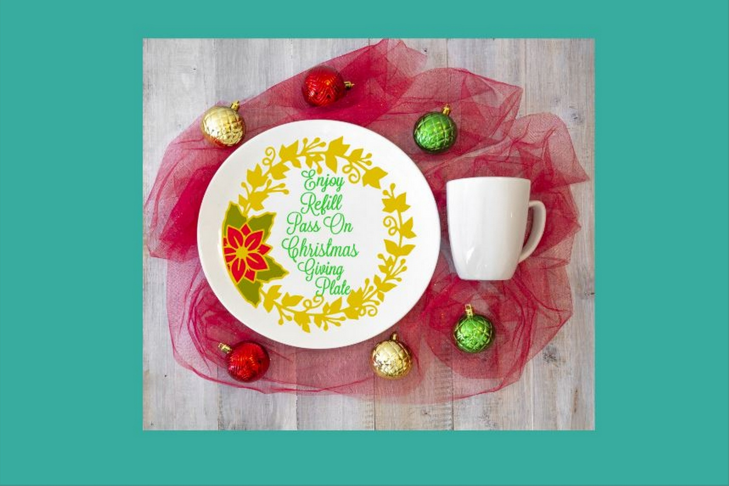 SVG Cut File Christmas Giving Plate Design #05 example image 3