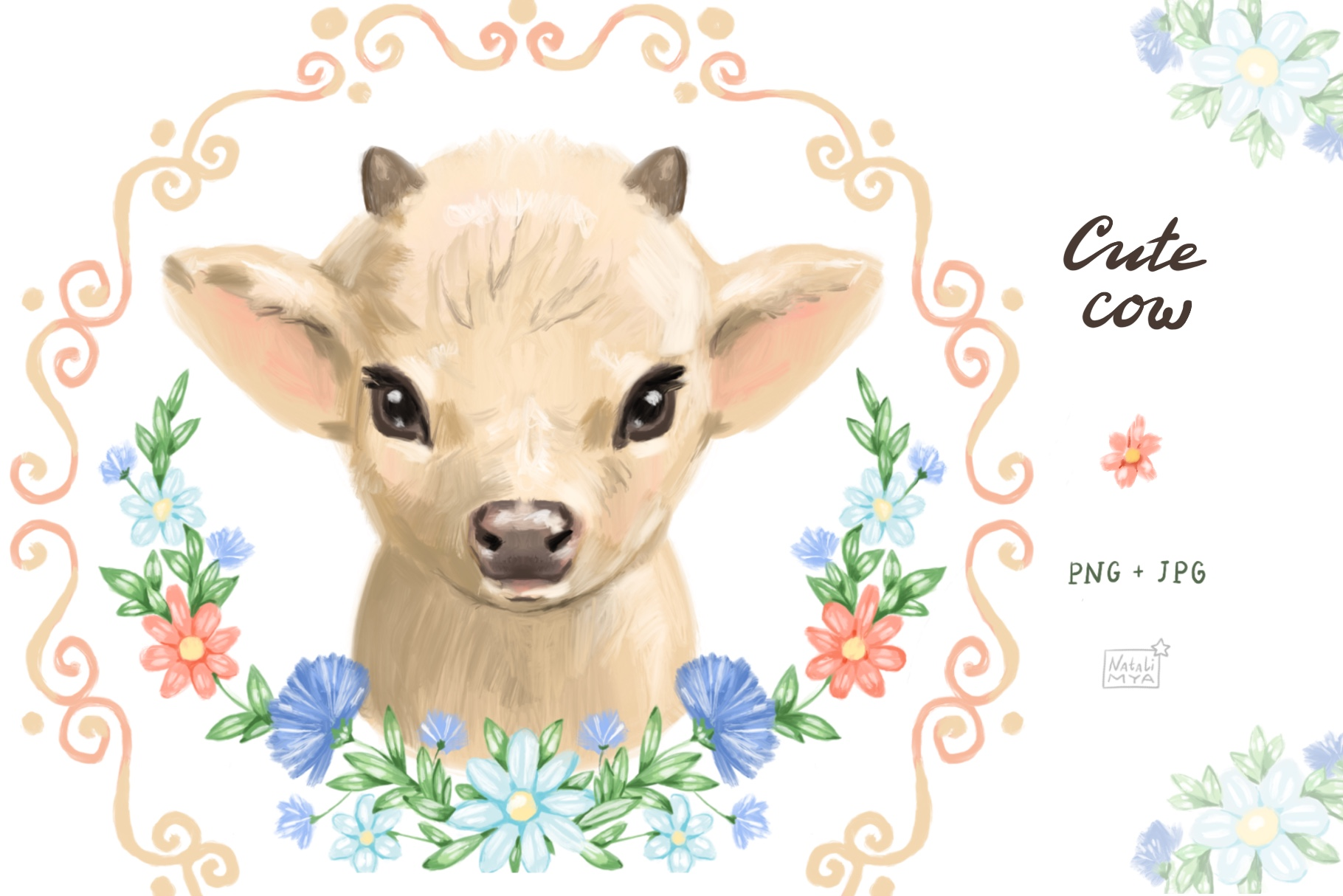 Cute cow clipart example image 1