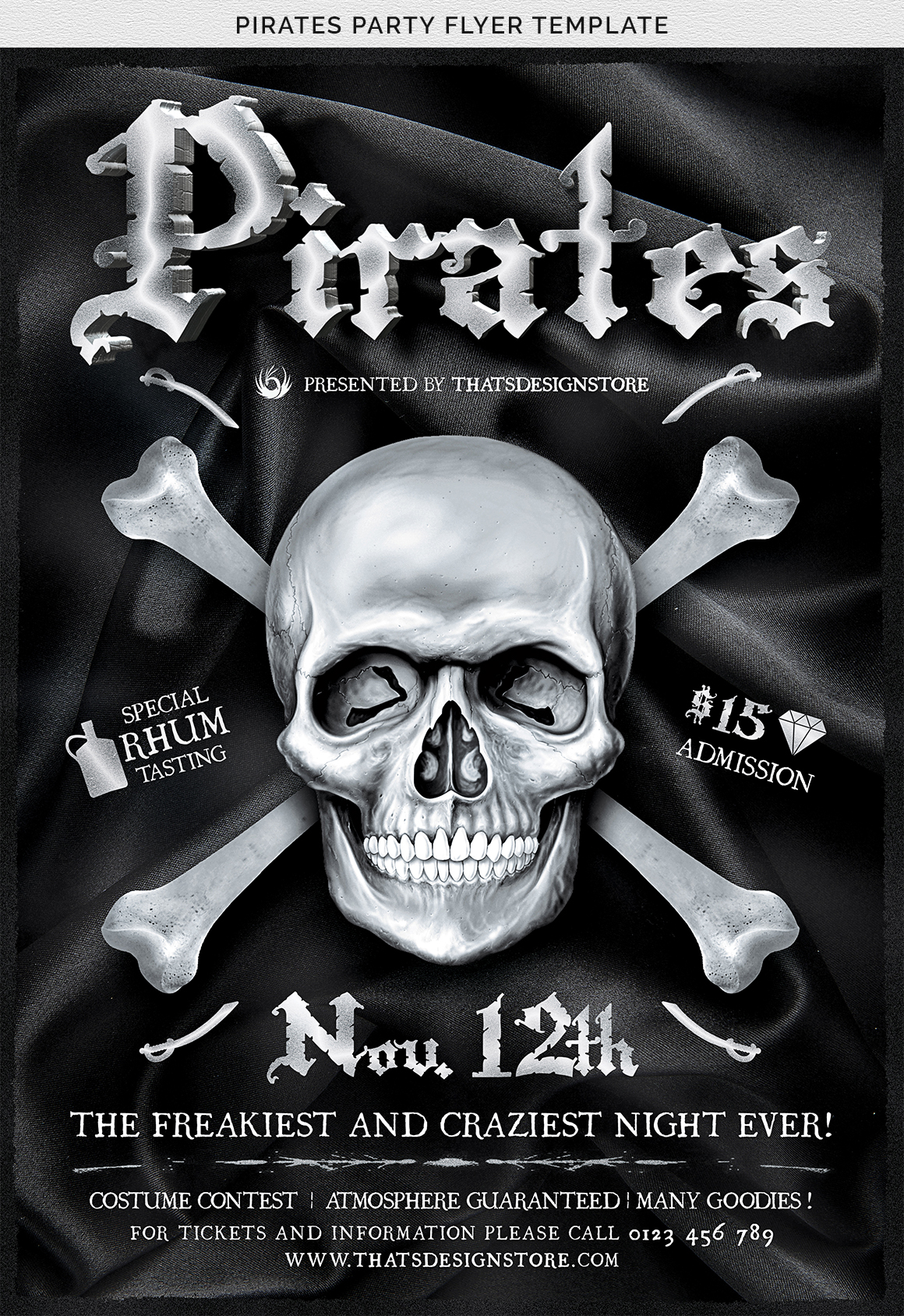 Pirates Party Flyer Template example image 7