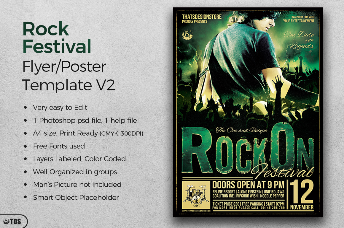 Rock Festival Flyer Template V2 example image 2