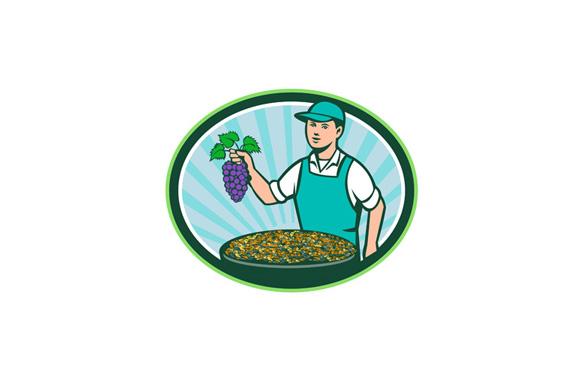 Farm Boy Holding Grapes Bowl Raisins Oval Retro example image 1