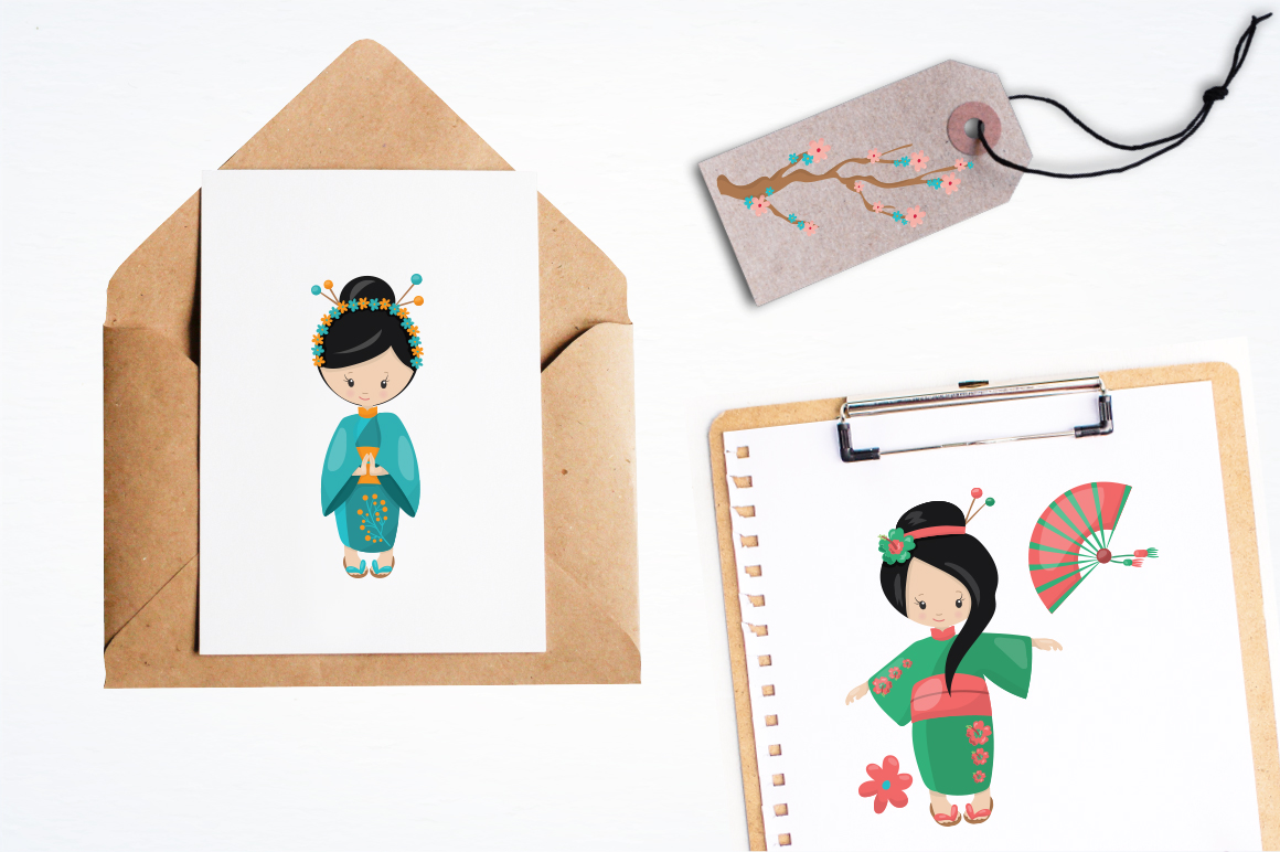 Kimono Girl graphic and illustrations example image 3