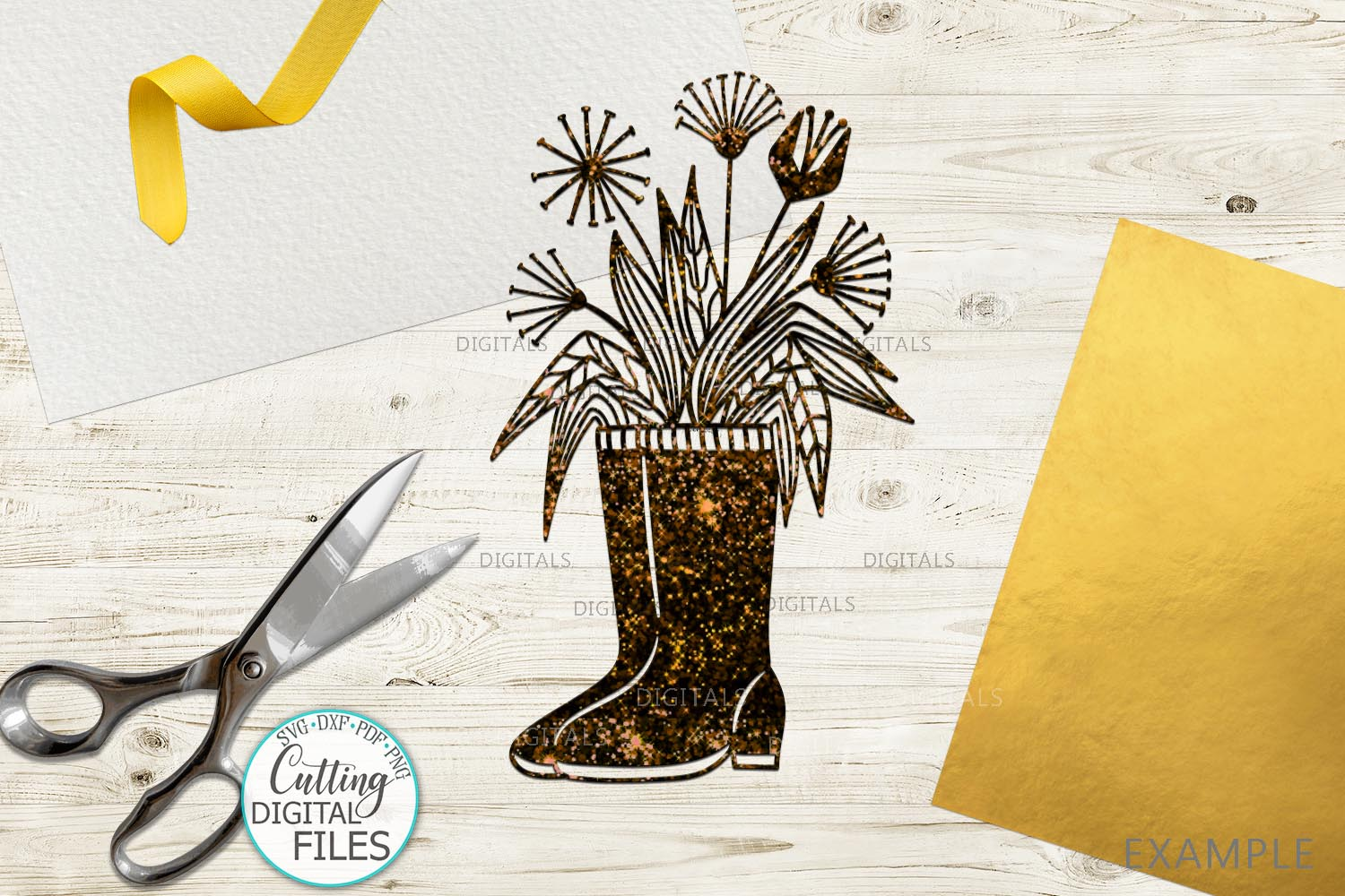 Flowers Wellies Rain boots svg dxf laser paper cut out files example image 3