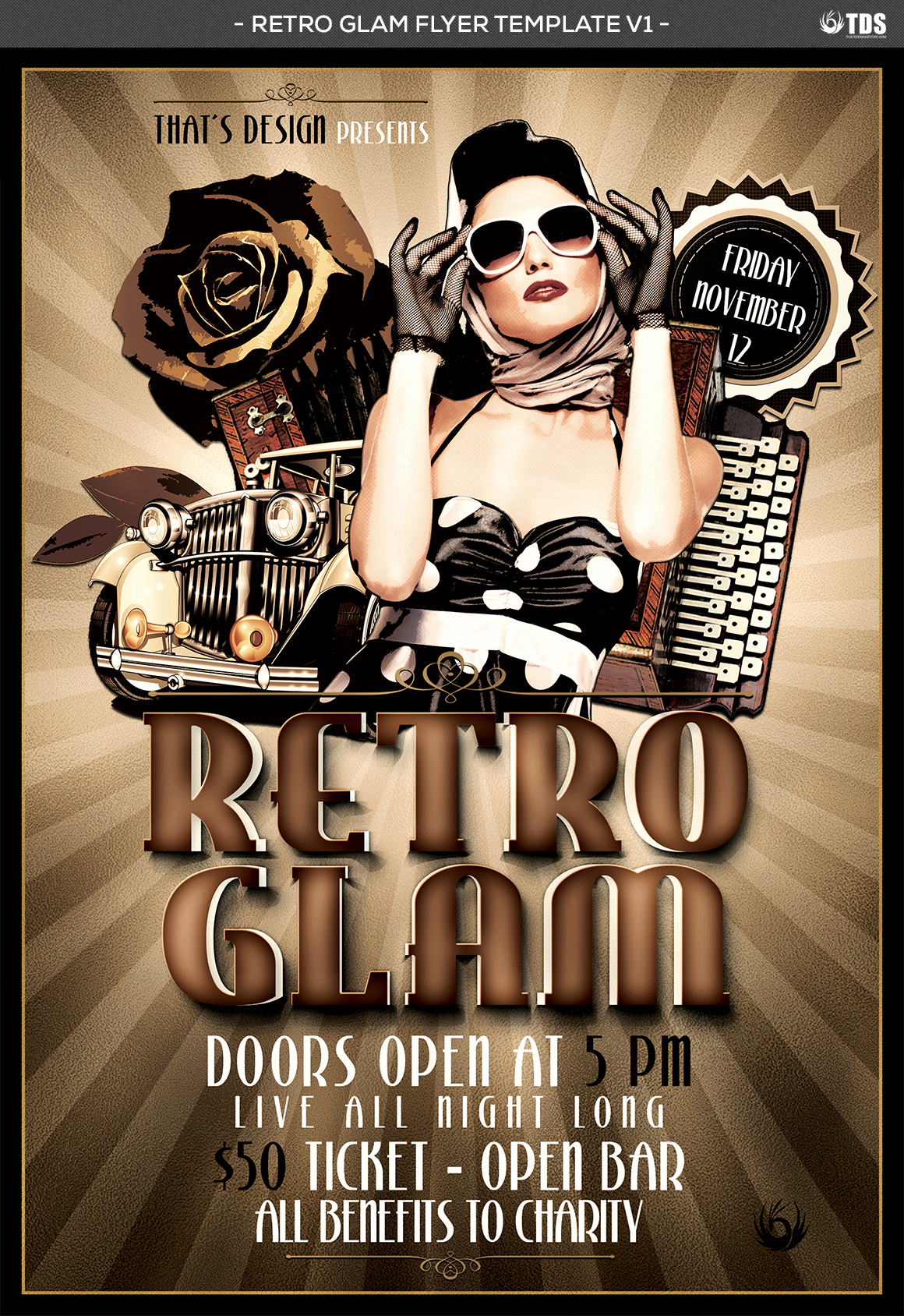 Retro Glam Flyer Template V1 example image 4