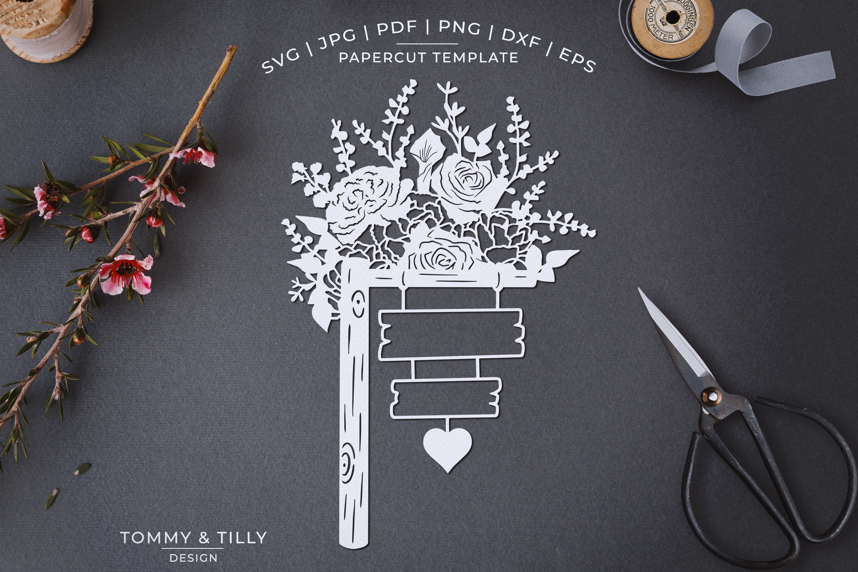 Romantic Floral Sign - Papercut Template SVG JPG PNG example image 1