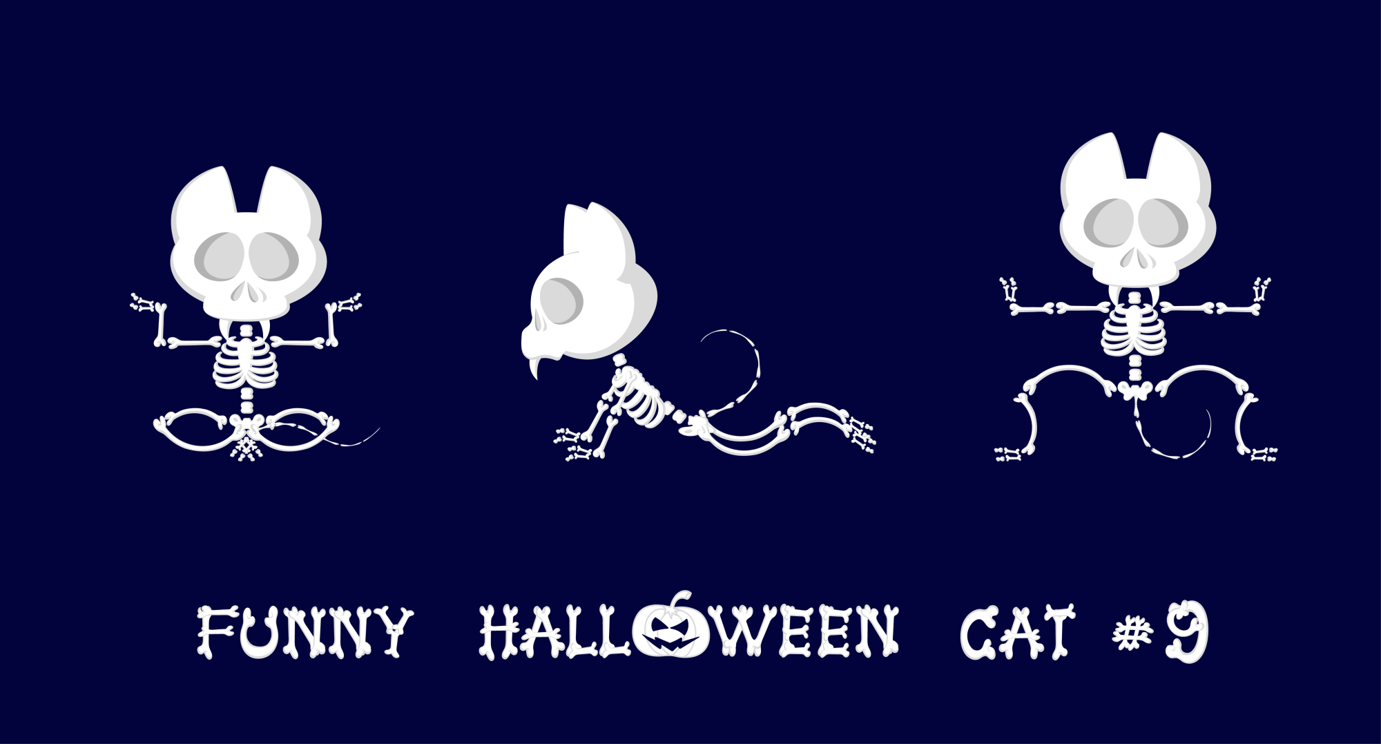 Set of 9 funny skeletons cats - 3 example image 3
