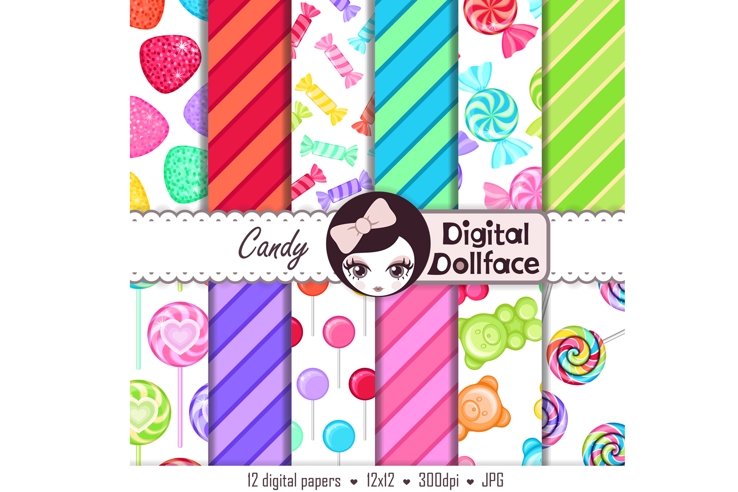 Rainbow Candy Digital Backgrounds / Candy Patterns  example image 2