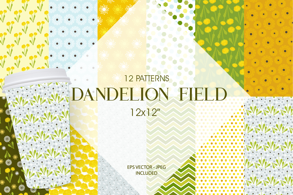 Dandelion Field Pattern collection, vector ai, eps and jpeg example image 1