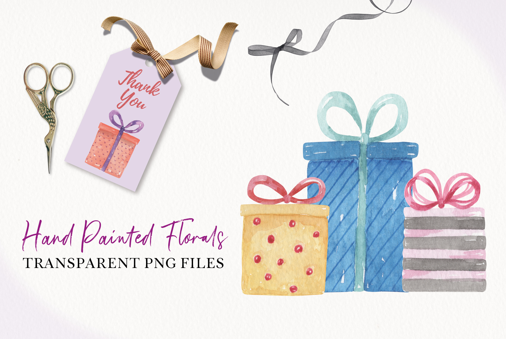 Watercolor Presents Gifts Clipart Elements Tags Banners Bows example image 2