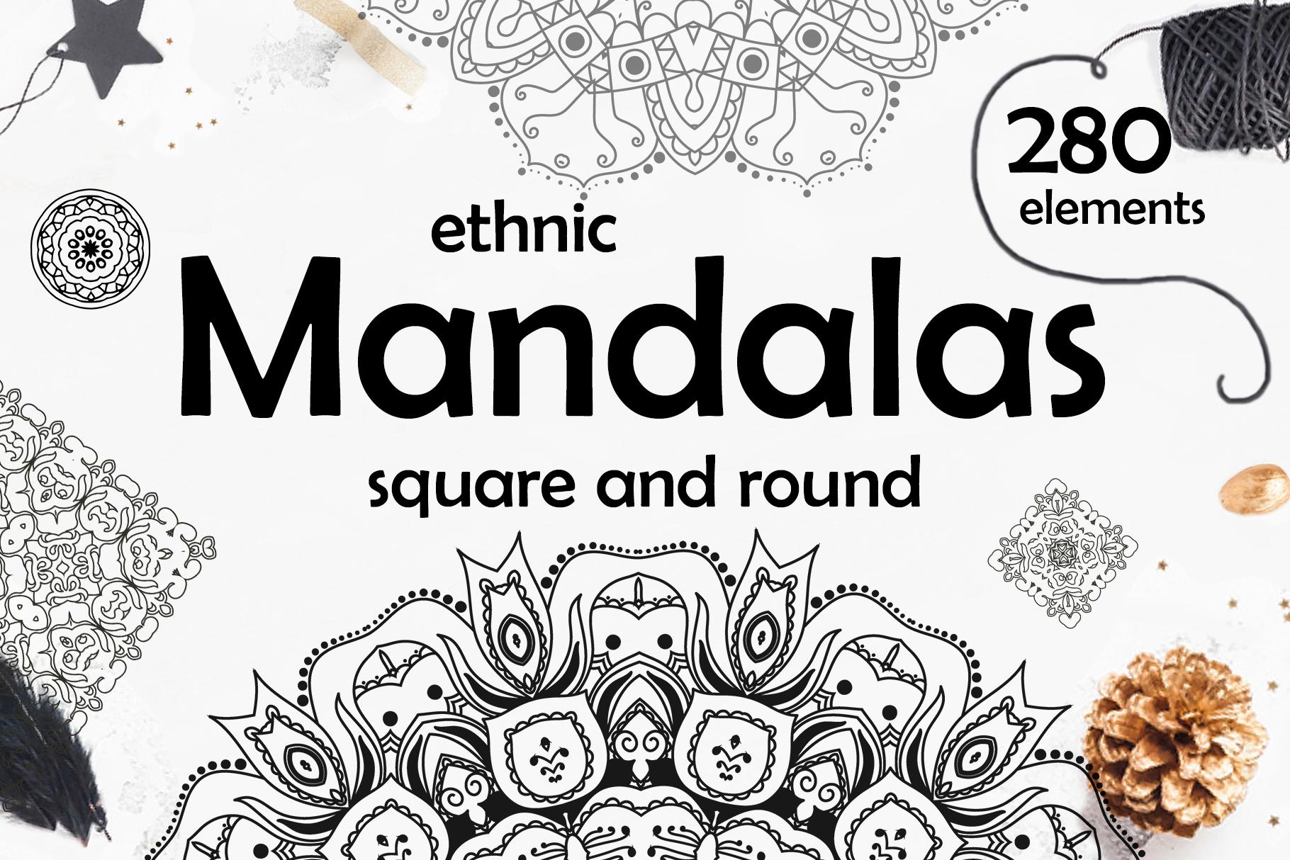 280 Ethnic MANDALAS square and round example image 1
