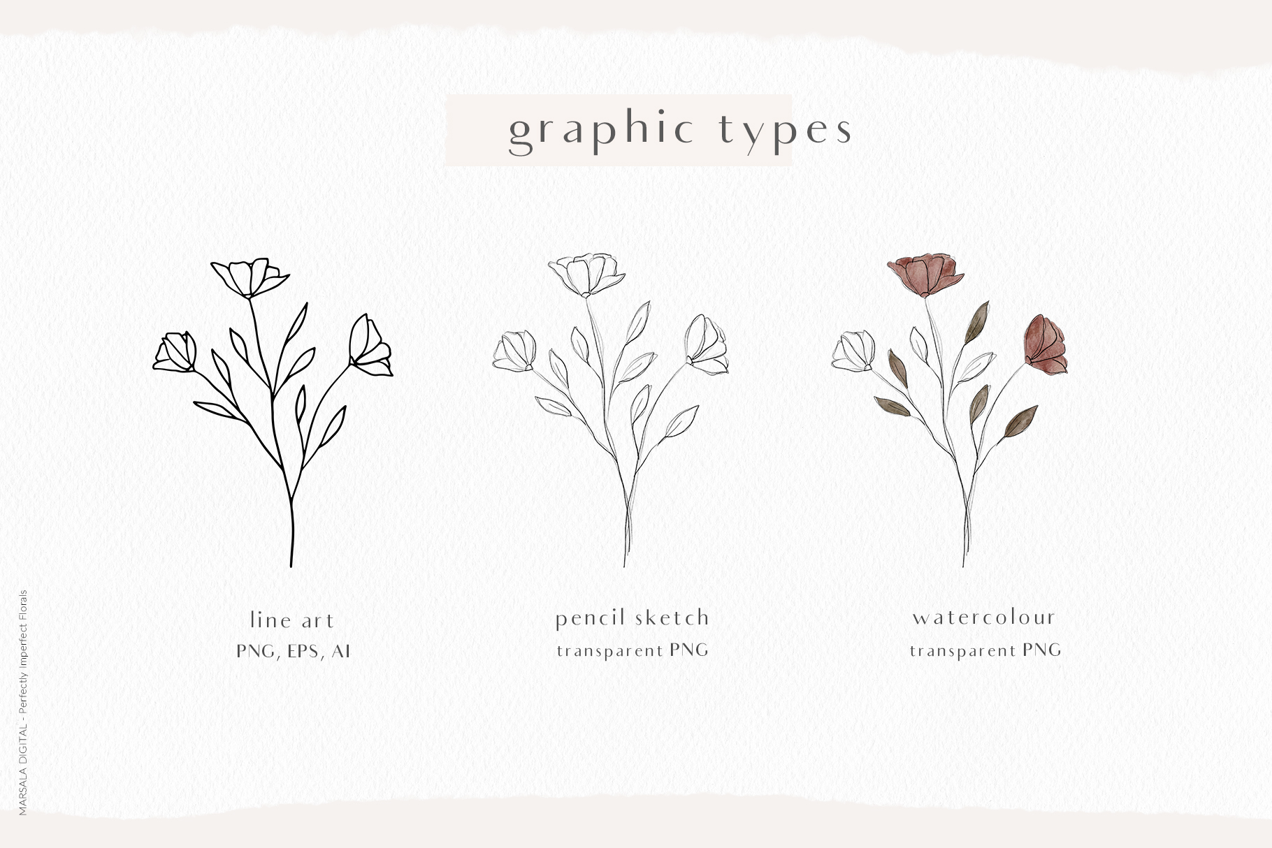 Watercolor Pencil Sketch Florals Line Art Vector Flowers
