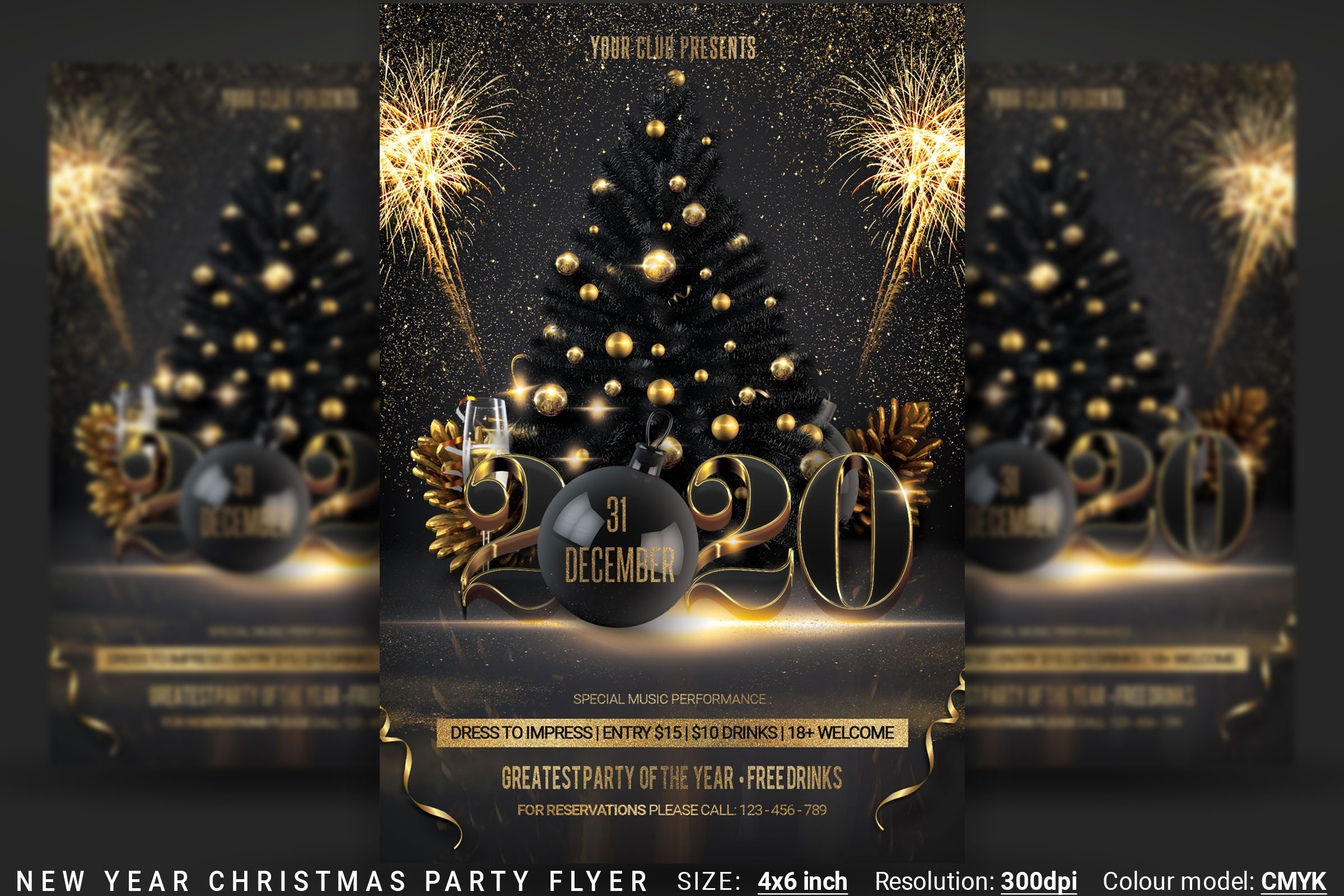 Christmas Party Flyer.New Year Christmas Party Flyer