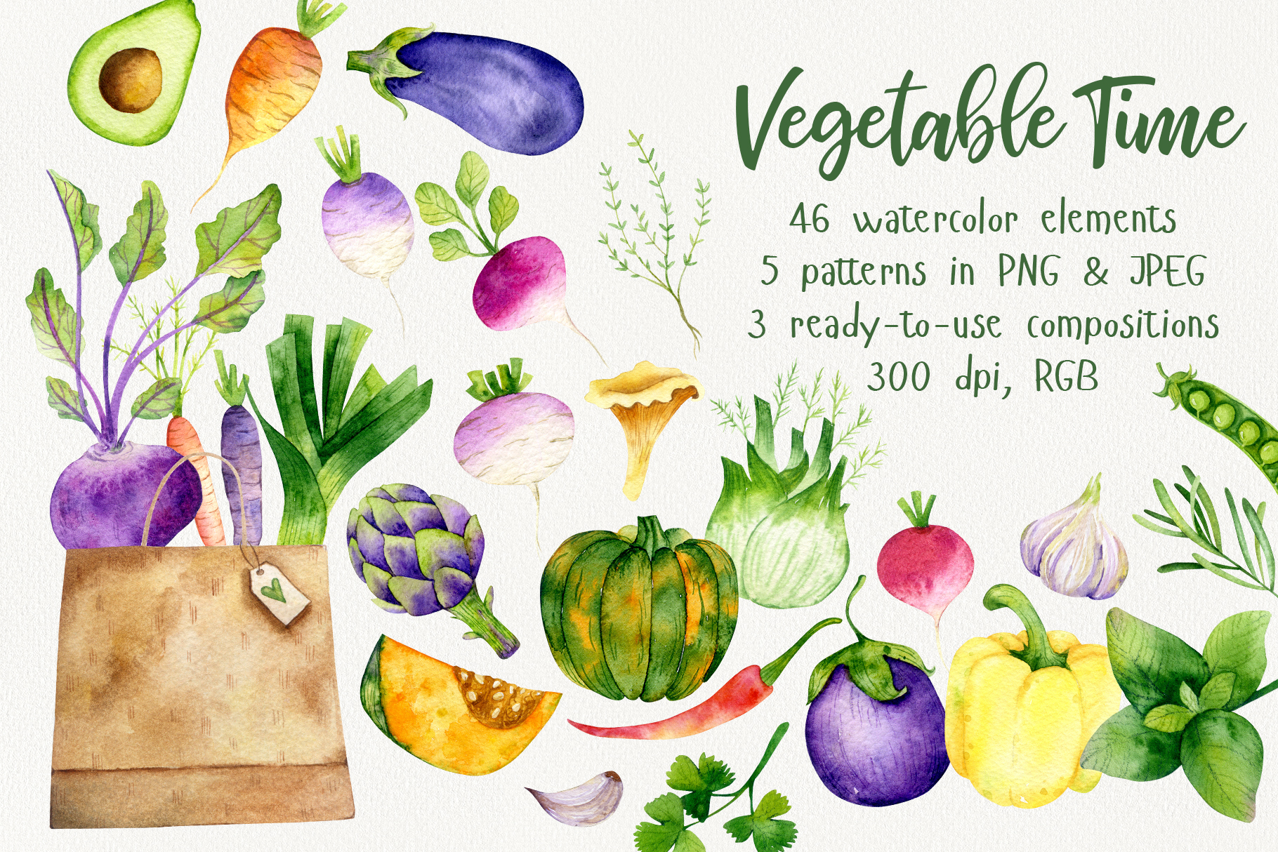 Vegetable Time Watercolor Set example image 1