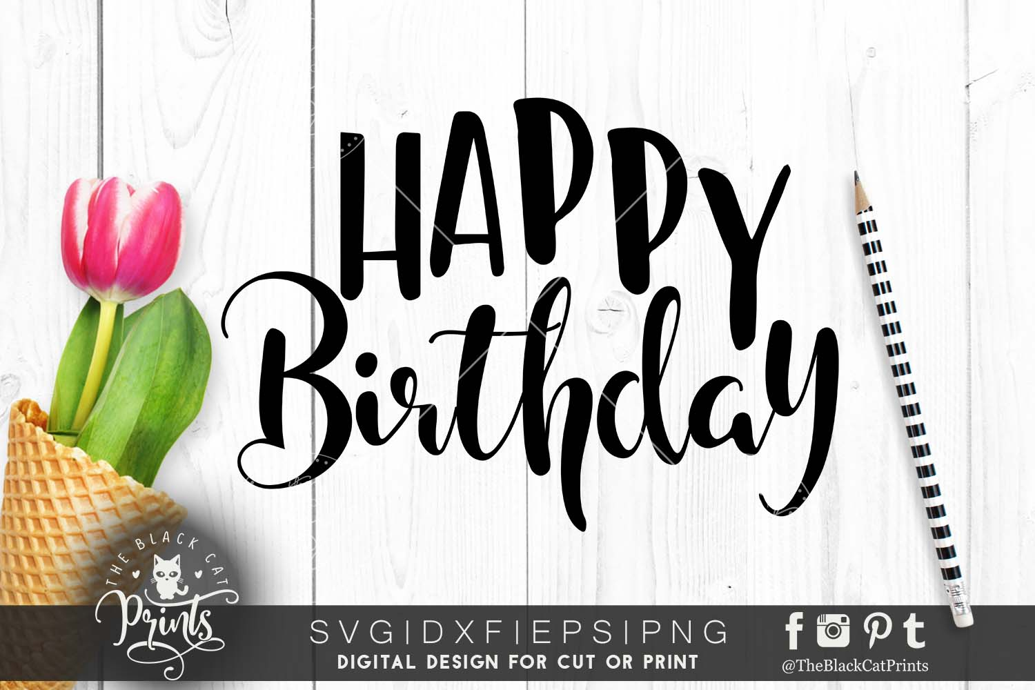 Happy Birthday SVG EPS PNG DXF example image 1