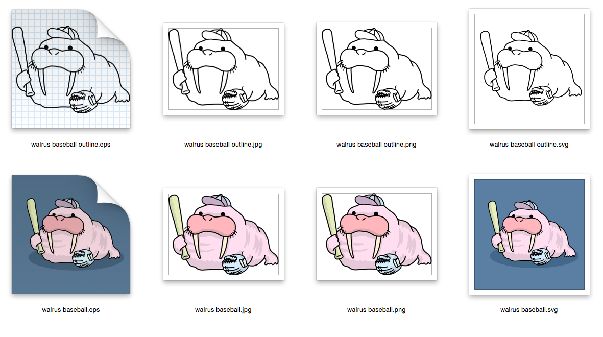 Walrus baseball- Outline and Colored - SVG-EPS-JPG-PNG example image 2