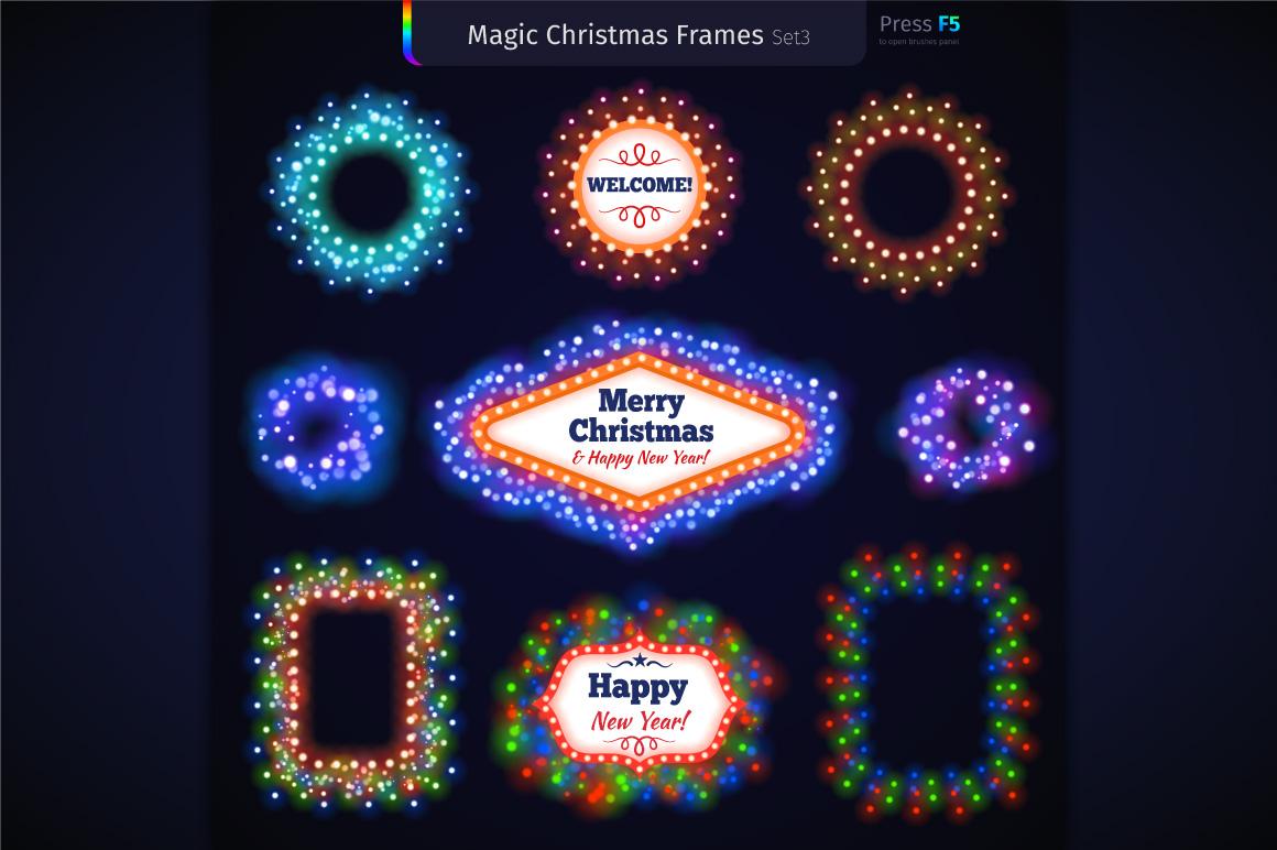 Magic Christmas Lights Vector Brushes Big Set example image 8