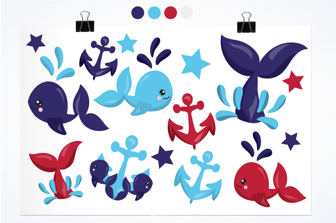 Nautical Whales graphics and illustrations example image 2