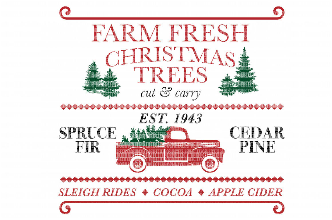 Farm Fresh Christmas Trees Red Truck SVG Files Cut Files Heat Transfer Vinyl Scrapbooking Stencil EPS DXF Silhouette Cameo Cricut Commercial Use example image 1