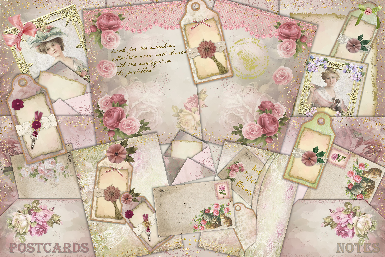 Shabby Chic Vintage Journaling Kit & Free Ephemera & clipart example image 1