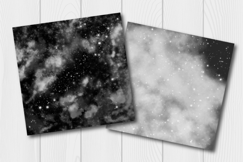 Monochrome watercolor galaxy digital paper. Cloudy textures example image 3