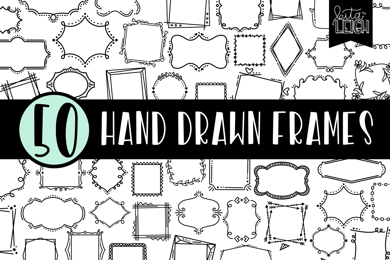 50 Hand Drawn Doodle Frames Bundle example image 1