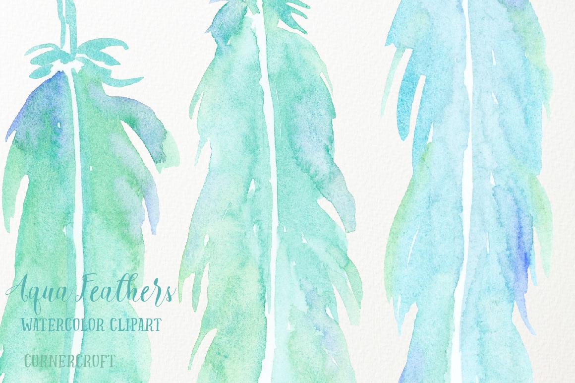 Watercolor Aqua Feathers example image 5