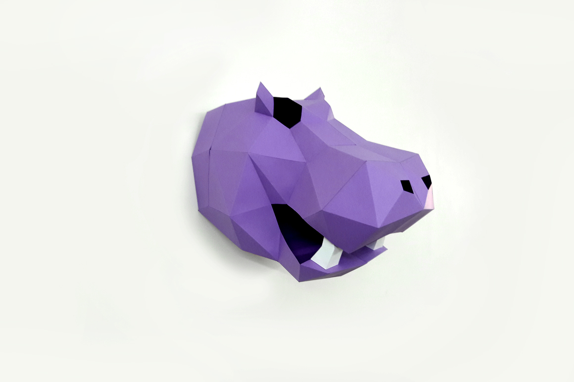 DIY Hippo Trophy - 3d papercraft example image 2