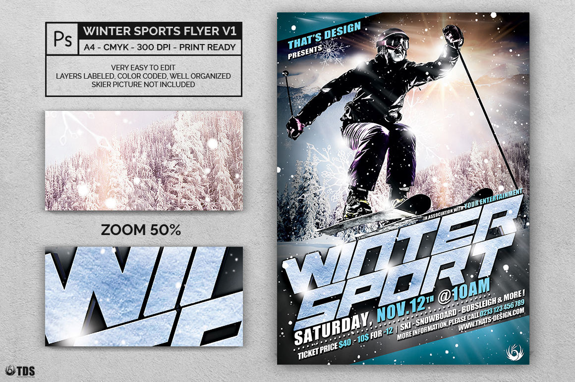 Winter Sports Flyer Template V1 example image 2