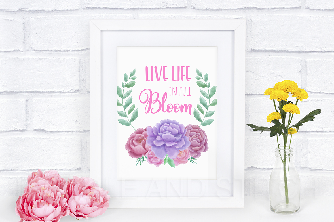 Peony Flower Watercolor Illustrations example image 3
