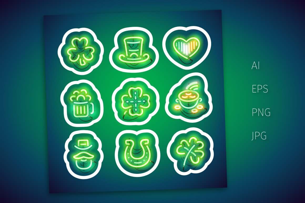 Neon St Patricks Day Sticker Pack example image 2