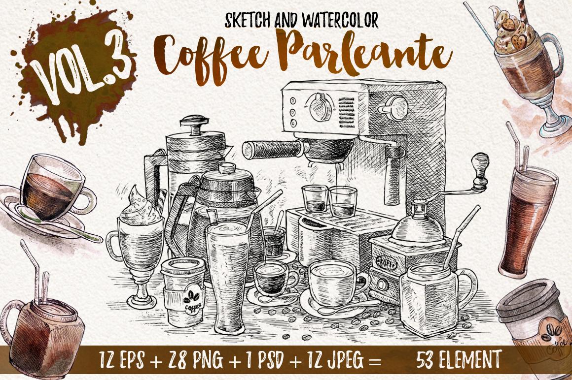 Watercolor Coffee Black Parleante example image 1