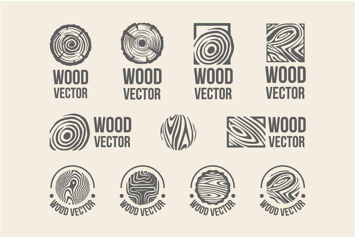 Set of wood rings texture logo example image 2