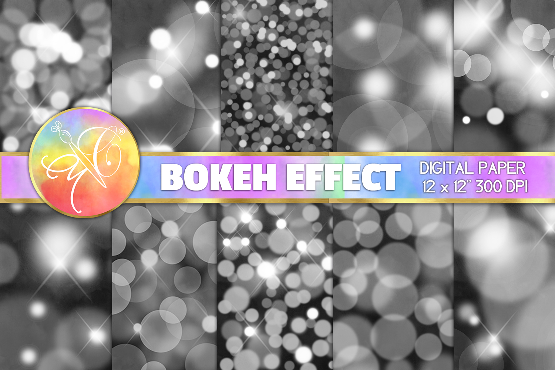 BOKEH Digital Paper, Black Bokeh Background example image 1