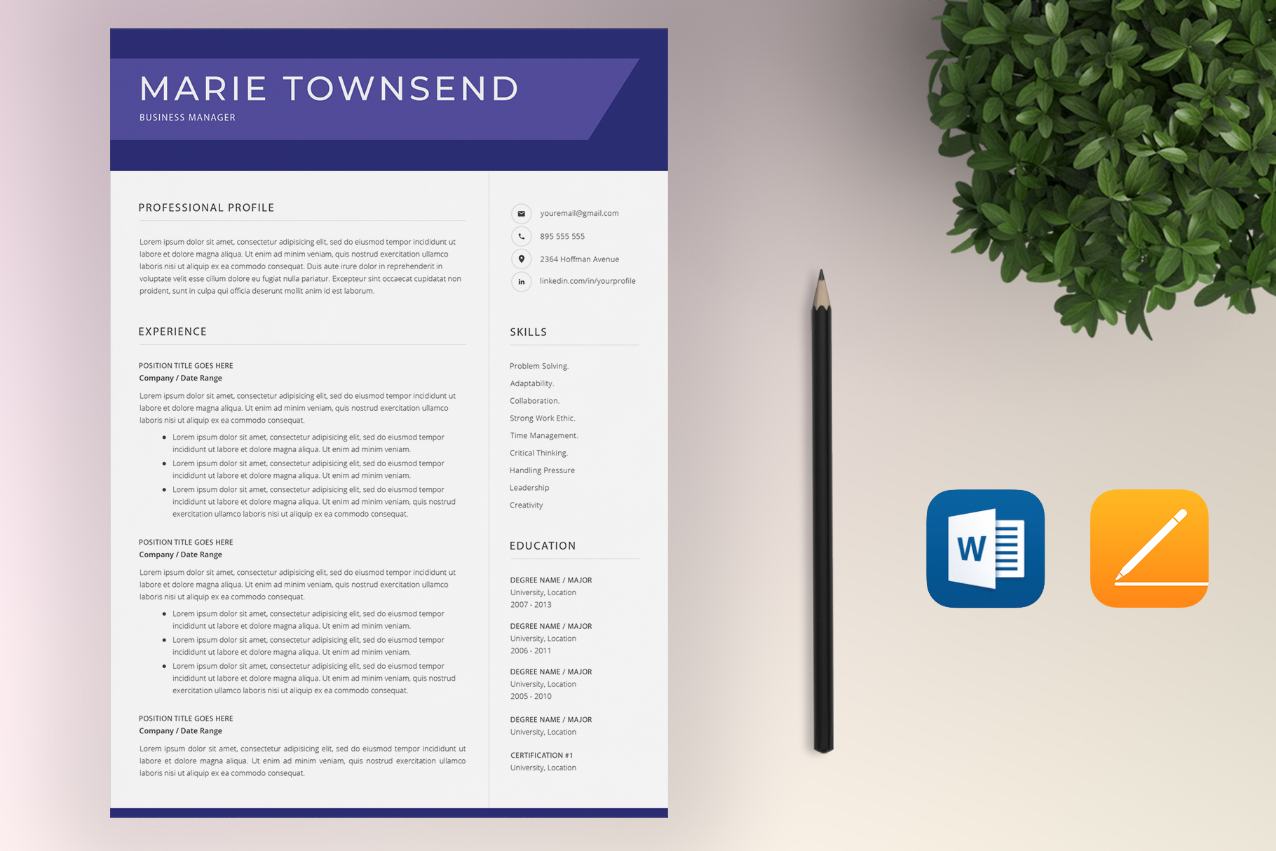 Resume Template Bundle | 4 Pages and Cover Letter example image 9