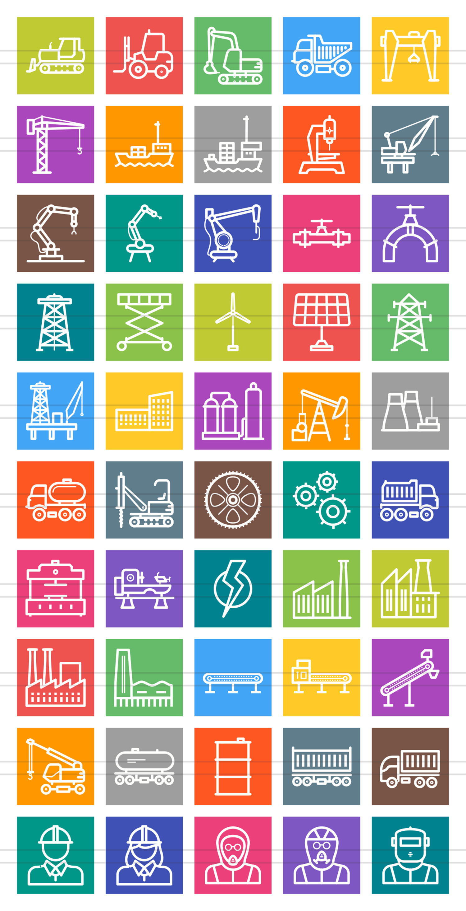 50 Industrial Process Line Multicolor B/G Icons example image 2