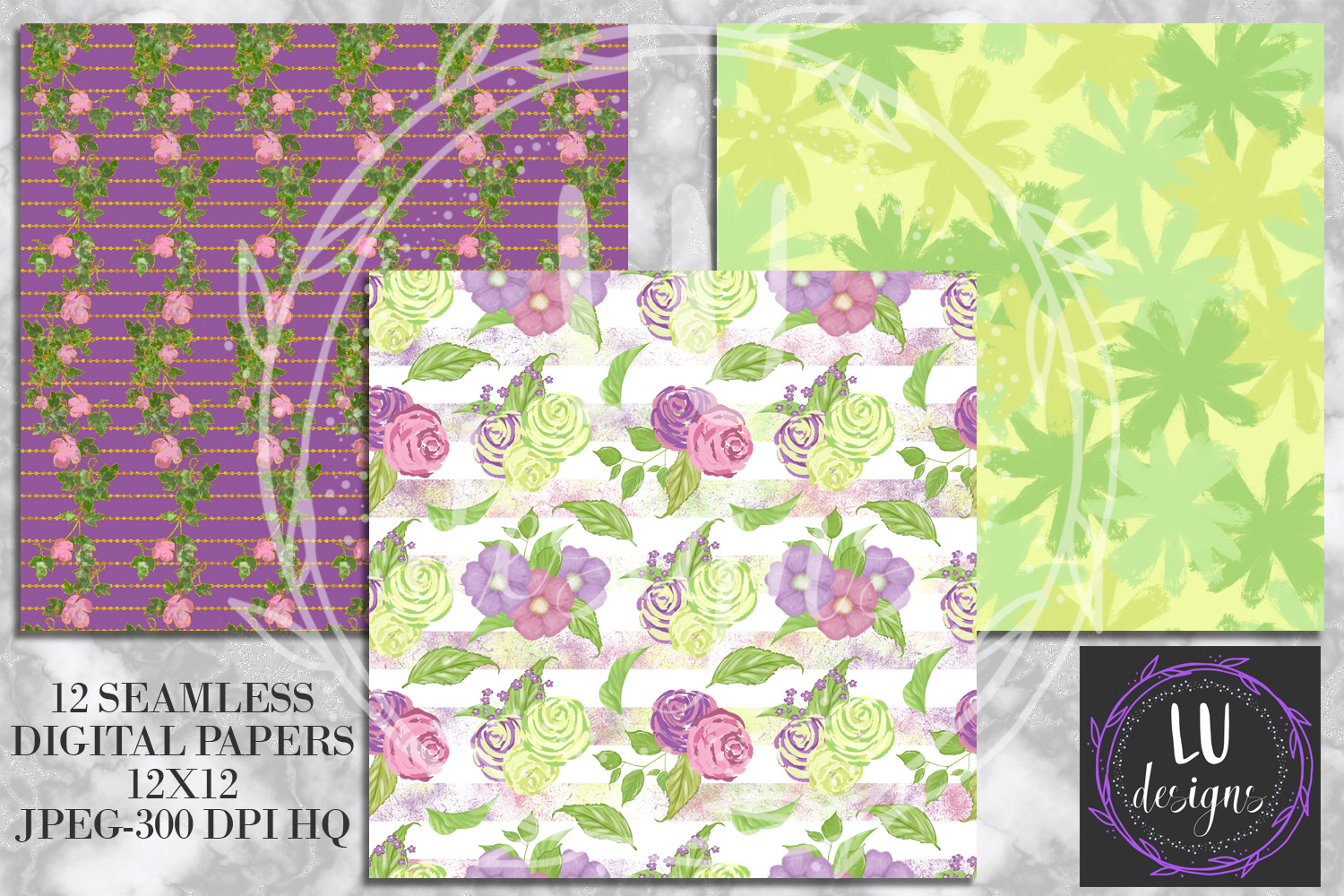 Spring Digital Papers, Spring Backgrounds, Garden Scrapbook example image 2
