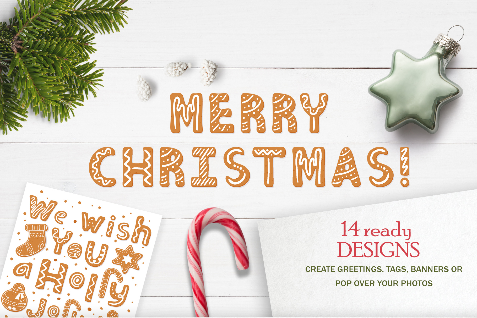 Gingerbread Christmas color SVG font example image 4