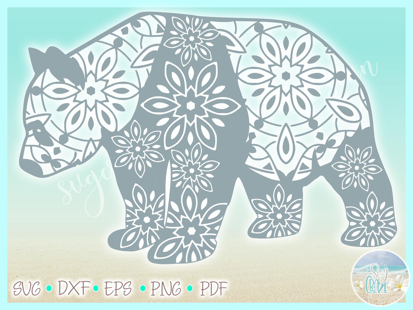 Panda Mandala ZentangleSVG Dxf Eps Png PDF files for Cricut example image 3